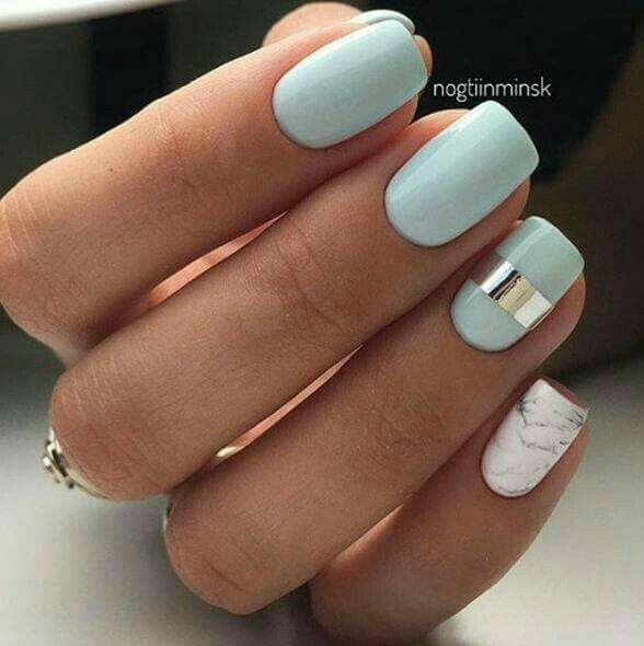 Mint and Marble nails