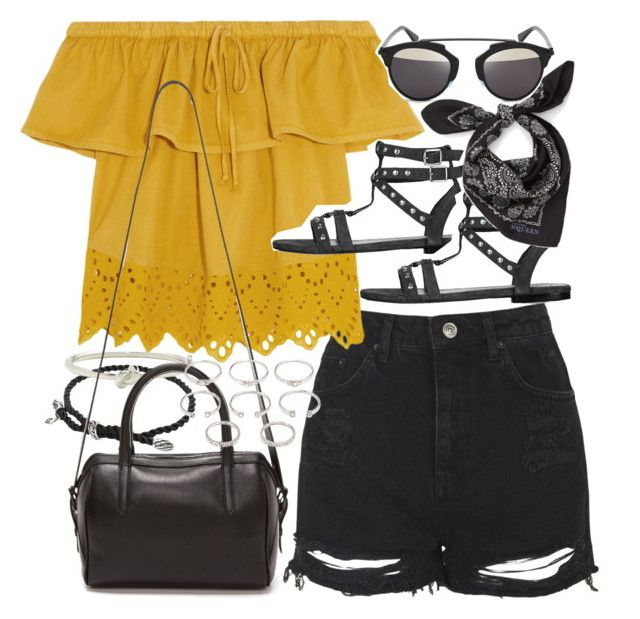 """Outfit with denim shorts for summer"" by ferned on Polyvore featuring Topshop, Madewell, David Yurman, Kate Spade, Reece Hudson, Alexander McQueen, Forever 21, Christian Dior, jeanshorts and denimshorts"