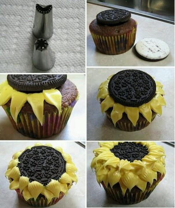 Oreo sunflower cupcake