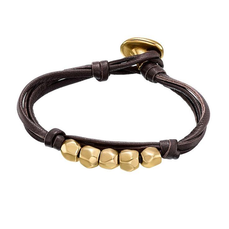 """Pulsera """"Vadebolas"""" de Uno de 50 colección Gold en cuero marrón con cuentas bañadas en oro."""