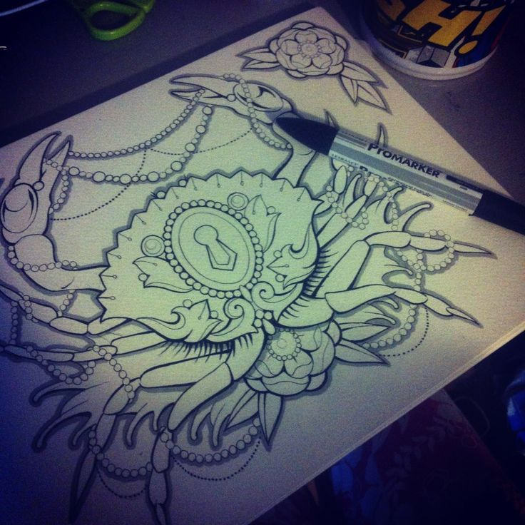 Tattoo Inspiration, crab and pearls, cancer theme, lock and key