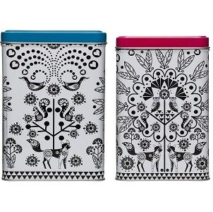 Sagaform Owl Story Tin Cans, Square, 2-Pack
