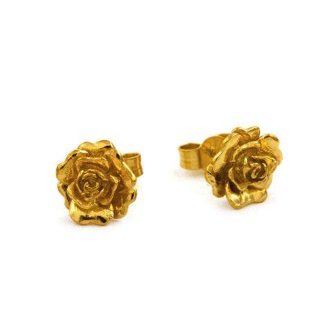 Alex Monroe Rosa Damasca Stud Earrings – Silverado