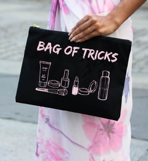 Bag of Tricks Large Makeup Pouch   Makeup Bag with Funny Quote