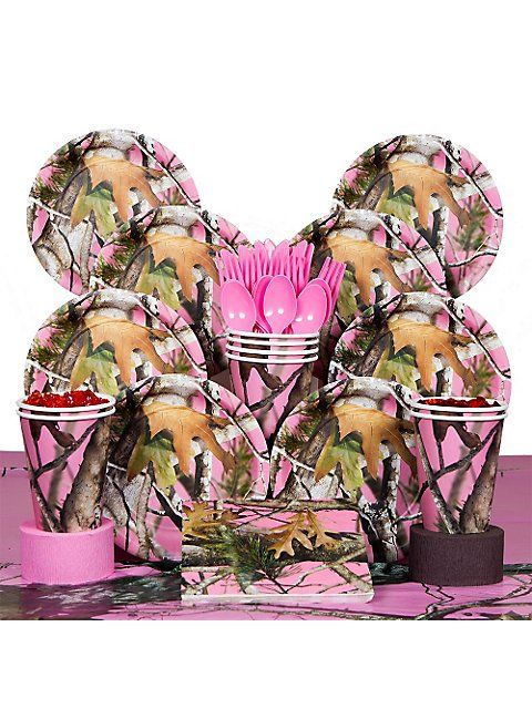 PINK CAMO DELUXE KIT (SERVES 8) - http://1stbirthdaypartytheme.com/pink-camo-deluxe-kit-serves-8-2.html