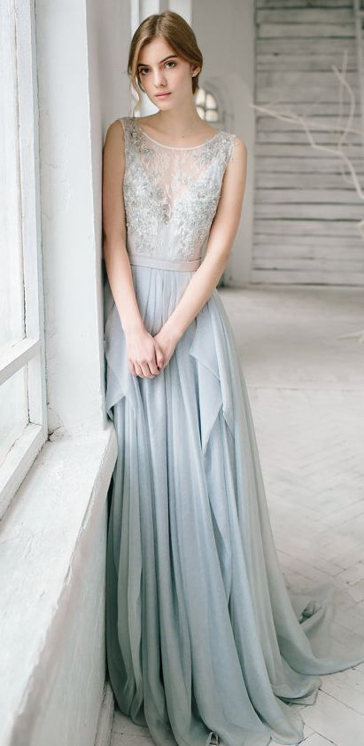 Dusty blue wedding gown / http://www.himisspuff.com/blue-wedding-dresses/2/