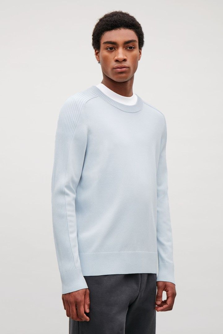 269f9912a0f0 COS image 1 of Jumper with exaggerated ribs in Powder blue