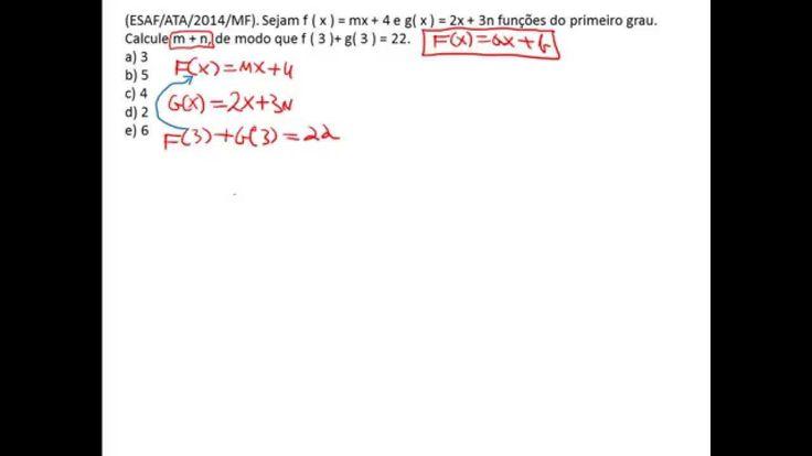 Esaf, Questão de matemática,  função do primeiro grau, concurso público.