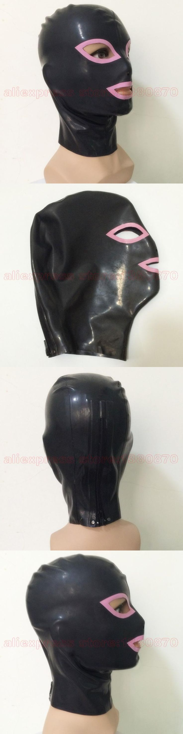 Unisex Sexy Latex Hood Rubber Latex Black and Pink  Mask  LM011A