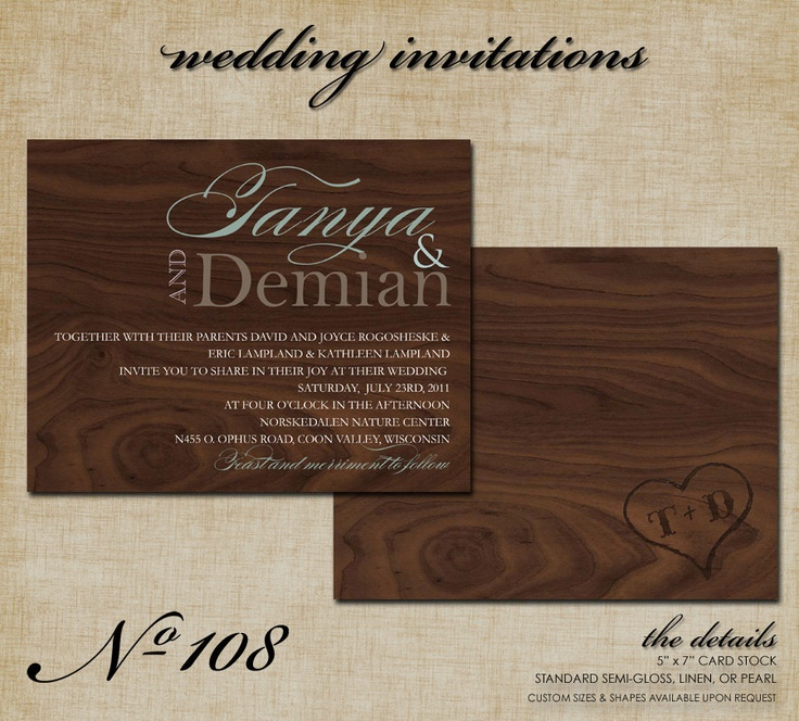 standard size wedding invitation%0A No     Wood Grain Wedding Invitations   x  inches          via Etsy