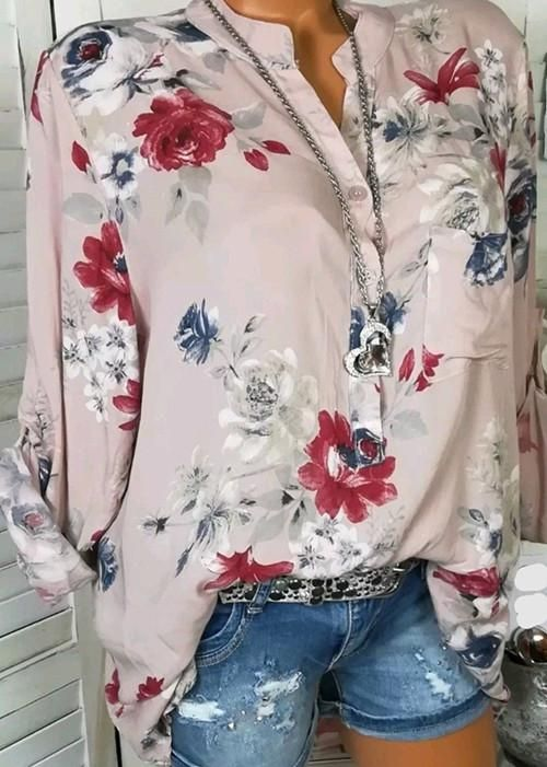 27f2815eb14dcc Autumn Fshinable White Basic Floral Blouses   Shirt – Mollyca ...