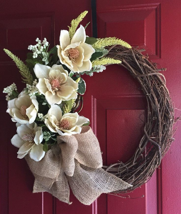 A personal favorite from my Etsy shop https://www.etsy.com/listing/270004943/springsummer-chic-burlap-magnolia-wreath