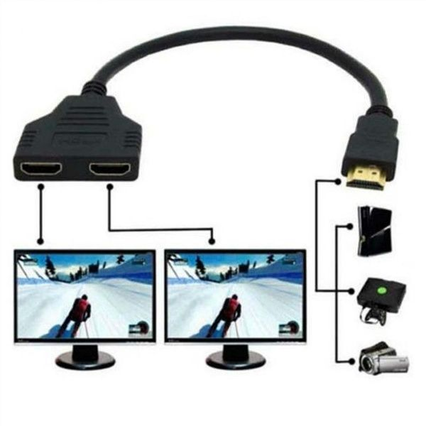 Fashion 1080p Hdmi Port Male To 2 Female 1 In 2 Out Splitter Cable Adapter Converter New Hdmi Splitter Cable Hdmi Cables