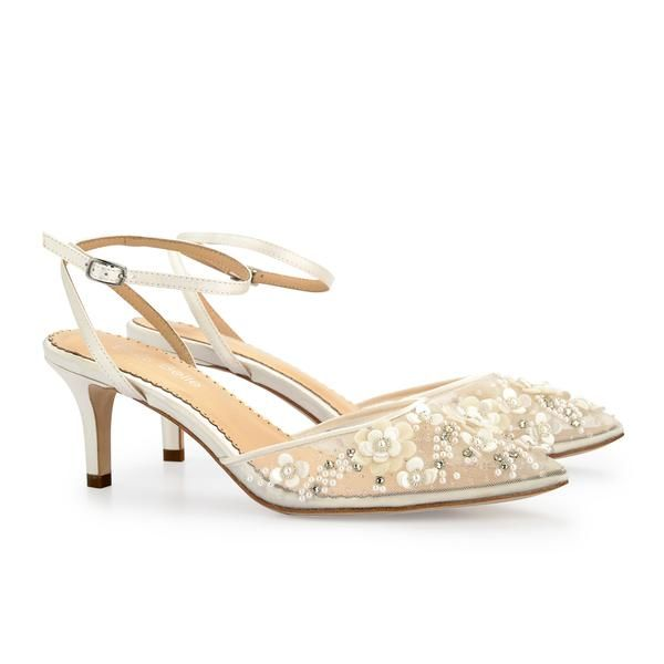 0d8d0e829a814 Bella Belle Euphoria collection. Rosa ivory kitten heel pearl wedding shoes  with chiffon flowers and pearls. Comfortable low heel pearl wedding heels.