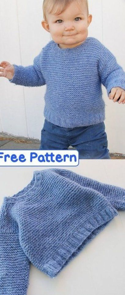 Free garter stitch sweater pattern for kids and babies # ...