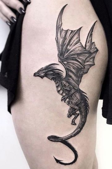 Serpent Tattoo, Tattoo Snake, Dragon Thigh Tattoo, Small Dragon Tattoos, Dragon Tattoo For Women, Dragon Sleeve Tattoos, Dragon Tattoo On Back, Back Thigh Tattoo, Cute Dragon Tattoo