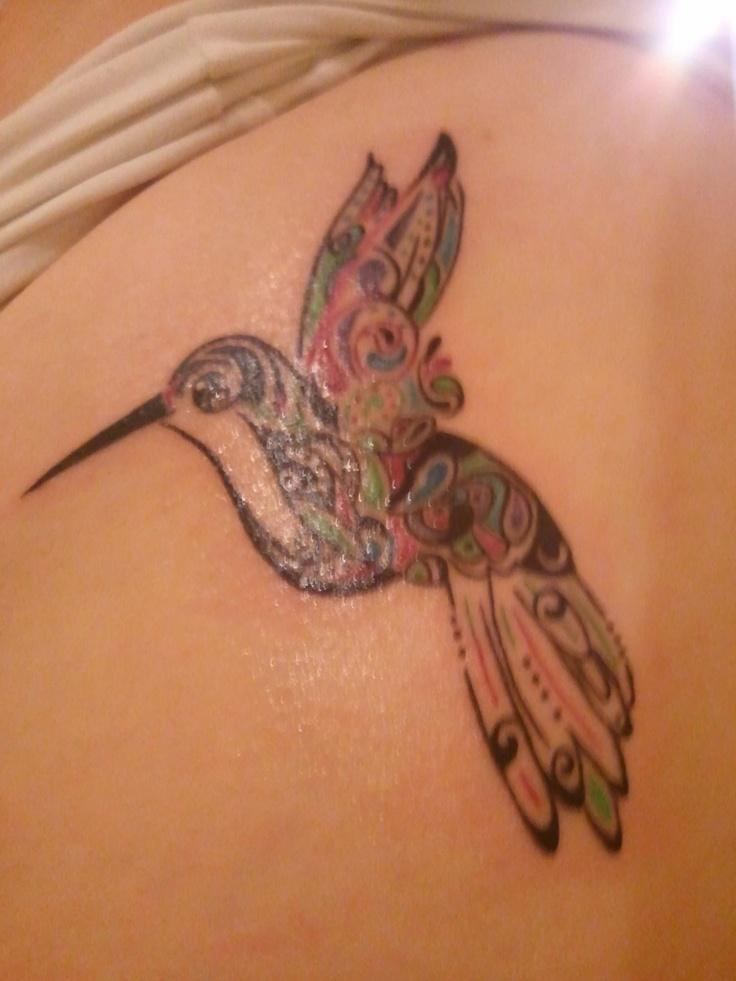 my aunt's paisley humming bird tattoo <3