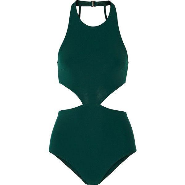 Flagpole Swim Lynn cutout swimsuit ($420) ❤ liked on Polyvore featuring swimwear, one-piece swimsuits, bathing suit, bikinis, swimsuit, green, cut out swimsuit, sporty swimsuits, green one piece swimsuit and halter bikini top