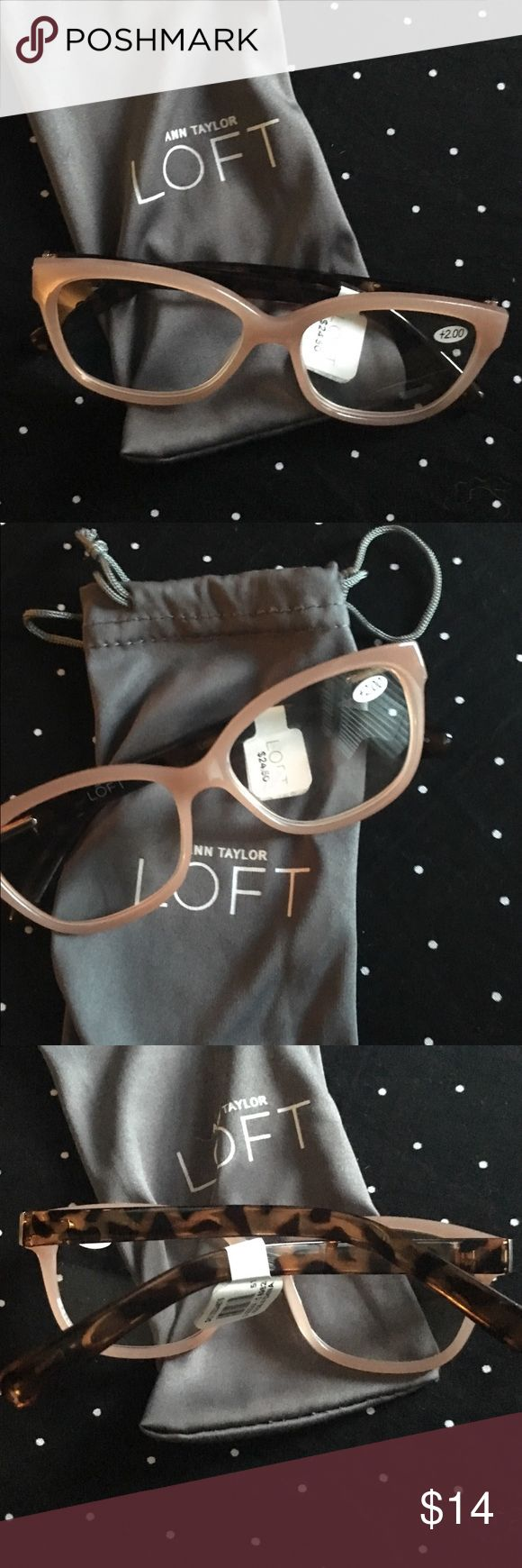 Fashionable LOFT Champagne Colored Frame Readers Brand New Fashionable LOFT Champagne Colored Frame Reading glasses‼️ Strength is 200.  Unused, the Champagne Rims are accented with Tortoise Shell Arms. A great buy‼️ GET THEM TODAY AT THIS GREAT PRICE🌺 LOFT Accessories Glasses