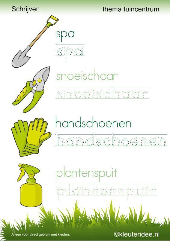 Schrijven thema tuincentrum 2 , door juf Petra van kleuteridee , free printable.