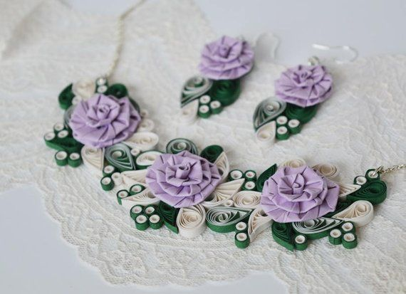 Lavender Rose Necklace Floral Necklace Unique Quilling Jewelry Custom Color Necklace Paper Necklace Lavender Jewellery Flower Jewellery Quilled Jewellery