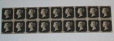 Stamp Pickers Great Britain 1840 Victoria Penny Black x 18 Old Forgery Sc #1