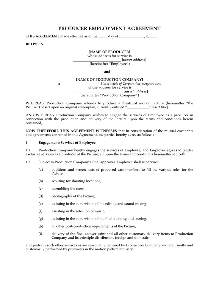 Producer Employment Contract http\/\/wwwmegadox\/d\/8966 Legal - executive employment contract