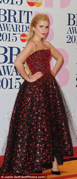 Red all about it: Paloma Faith pulled out all the stops in a prom dress and wore her hair ...