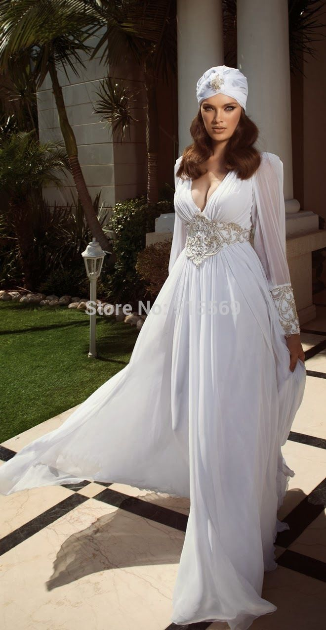 Sexy-Deep-V-Neck-Chiffon-Gorgeous-New-Style-Sweep-Straight-Wedding-Dresses-Arabic-julie-vino-long.jpg (660×1274)