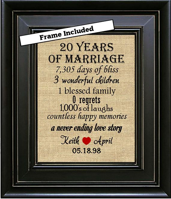 20 Year Wedding Anniversary Gift For Wife: FRAMED Personalized 20th Anniversary Gifts/20th Wedding