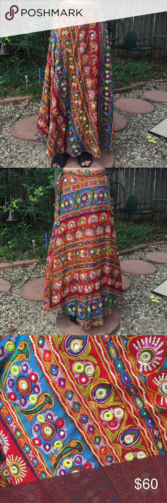 Soft Surroundings Multi-Color Maxi Wrap Skirt Tribal print multi-color cotton maxi wrap skirt with sequins and mirrors from Soft Surroundings. S Soft Surroundings Skirts Maxi