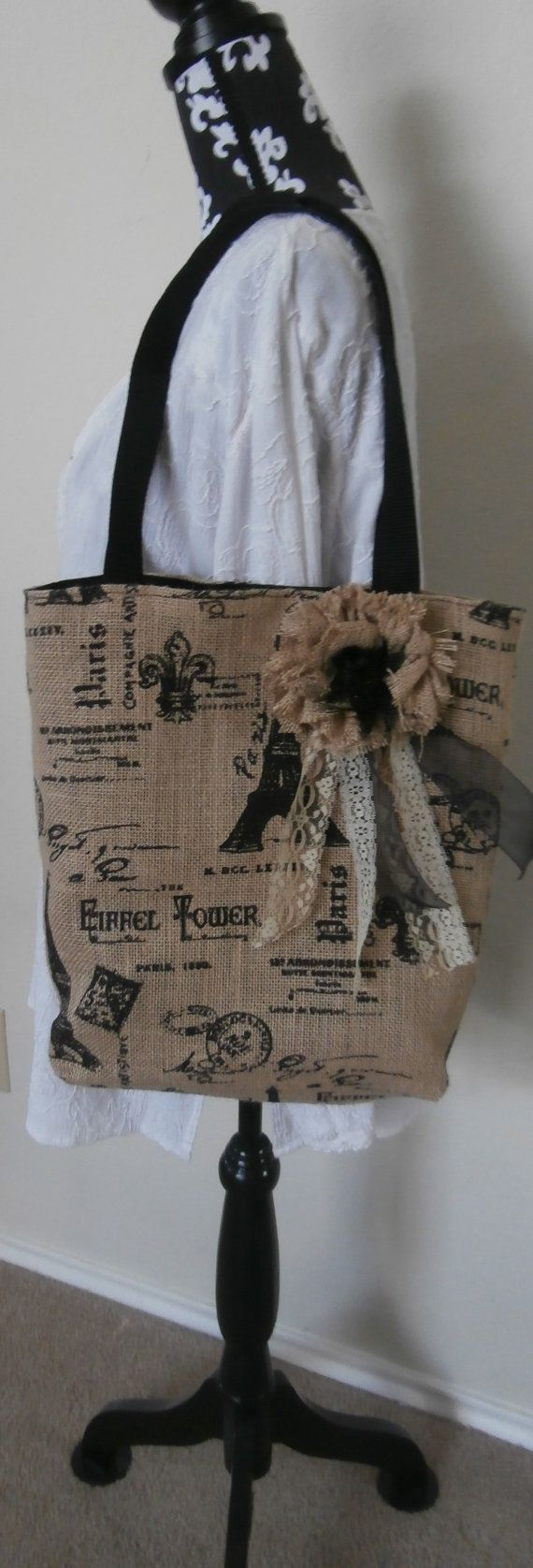 Burlap+Tote+Paris+Burlap+Tote+Burlap+Bag+by+CrossMyHeartBags,+$35.00