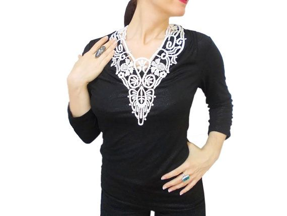 Christmas Sale White Lace statement necklace by HAREMDESIGN