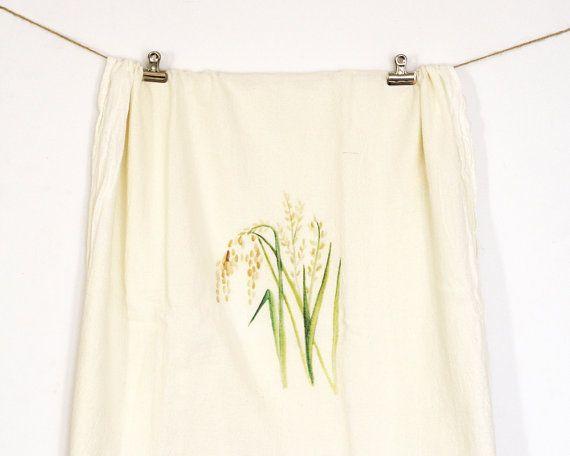 Set of 2 Rice Plant Tea Towels Flour Sack Tea by HoneyBrushDesign
