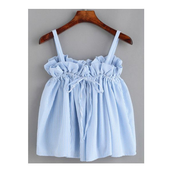 SheIn(sheinside) Blue Vertical Striped Drawstring Ruffle Top ($14) ❤ liked on Polyvore featuring tops, blue, cami top, blue camisole, blue striped top, stripe top and frilly tops