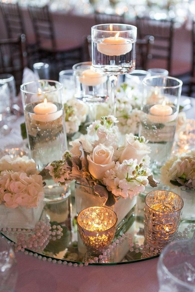 30 Fabulous Floating Wedding Centerpiece Ideas Wedding Decor Elegant Candle Wedding Centerpieces Mirror Wedding Centerpieces