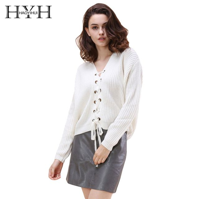 HYH HAOYIHUI Women Sweater Solid White Sweet Sweatwer V-neck Long Sleeve High-low Lace-up Cardigans Preppy Style Loose Casual #HAOYIHUI #sweaters #women_clothing #stylish_sweater #style #fashion