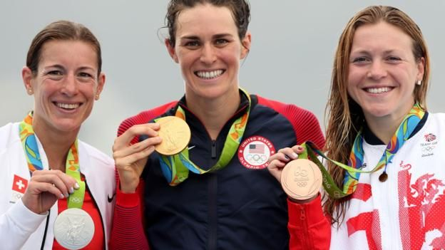 Rio Olympics 2016: Gwen Jorgensen wins triathlon,Switzerland's defending champion Nicola Spirig wins Silver, Britain's Vicky Holland gets bronze.
