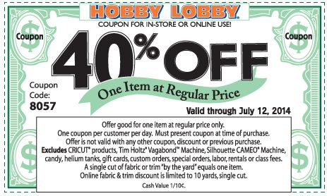 Pinned July 7th: 40% off a single item at Hobby #Lobby, or online via promo code 8057 #coupon via The #Coupons App