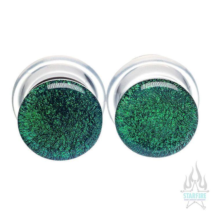 Single-Flared Glass Dichro Plugs - Green | Body Jewelry for Body Piercings