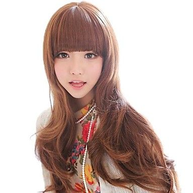 Fashion Women Long Wavy Synthetic Full Bang Wigs 3 Colors Available