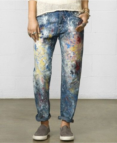 Denim & Supply Raph Lauren Paint Splatter Boyfriend Jeans
