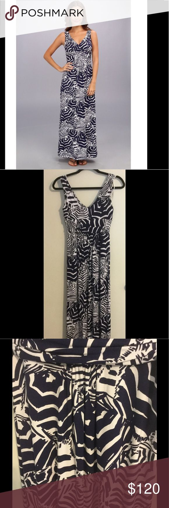 """Lilly Pulitzer NWOT Sloan Maxi Dress Oh Cabana Boy Lilly Pulitzer Sloane V-Neck Maxi in Oh Cabana Boy Print. Size S. NWOT. Navy and White. Will consider 🅿️🅿️ and love to bundle.   The Sloane maxi is the perfect option for summer. This printed jersey dress is flattering on all figures.The v-neck and jersey fabric are perfect for traveling, going out for lunch or spending the day at home.  Printed Sleeveless V-Neck Maxi Dress With Empire Waistline 60"""" From Top Of Shoulder To Hem. Rayon…"""