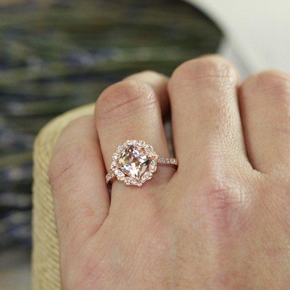 Great Vintage Floral Morganite Engagement Ring in Rose Gold Milgrain Diamond Wedding Band Cushion Morganite Ring Custom Made Ring ok by LaMoreDesign on Etsy