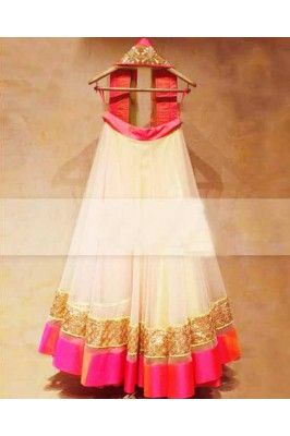 Alluring White Net And Satin Lehenga Chunni