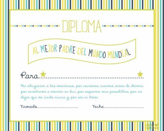 DIPLOMA DIA DEL PADRE para imprimir gratis