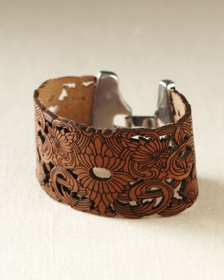 Streets Ahead Embossed Leather Cuff.