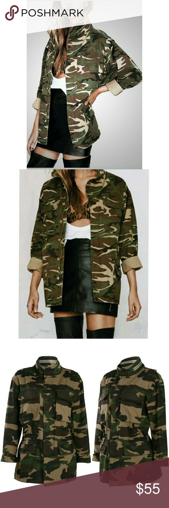 NEW! Camo Chic Bomber. Jacket Size S LAST ONE  Super trendy statement piece!   Camouflage  Army Green Military Style High Quality Fabric  Polyester Blend  Wash low temperature Do not Bleach NWOT Directly From Vendor   No Trades  Fast Shipping Moda Ragazza  Jackets & Coats Utility Jackets