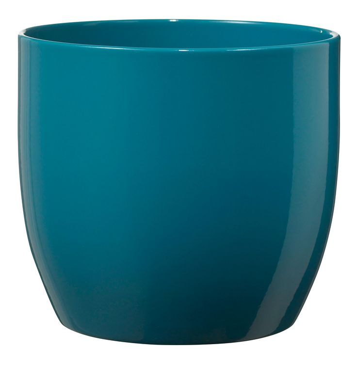 Basel Fashion Round Ceramic Blue Plant Pot (H)26cm (Dia)27cm | Departments | DIY at B&Q