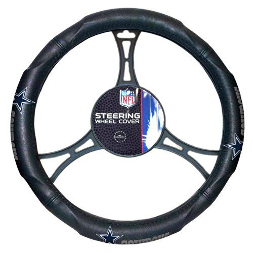 NFL Dallas Cowboys Steering Wheel Cover, Black, One Size  Officially licensed  Made to fit 14.5-inch to 15.5-inch steering wheel  Made of 85% rubber and 15% PVC  Black background with embossed team logo